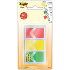 Post-it Index Flèches, ft 23,8 x 43,2 mm, blister de 3 x 20 onglets, geel, rood,