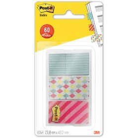 Post-It Index Smal geos pour ft 23,8 x 43,2 mm, 3 x 20 onglets