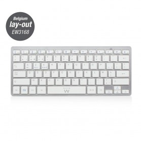 Ewent CLAVIER Bluetooth, Azerty, Silver et White