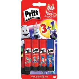 Pritt bâton de colle 3 x 11 g   1 glow in the dark 10 g gratuit, sous blister