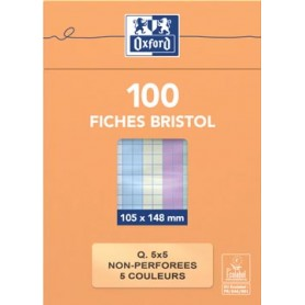 Oxford fiches non perforées, ft 105 x 145 mm, quadrillé 5 mm, couleurs assorties, paquet de 100 feuilles