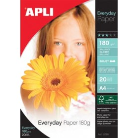 Apli papier photo Everyday ft A4, 180 g, paquet de 20 feuilles