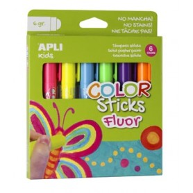Apli Kids color sticks fluor, blister de 6 pièces