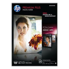 HP Premium Plus papier photo ft A4, 300 g, paquet de 20 feuilles, semi-brillant