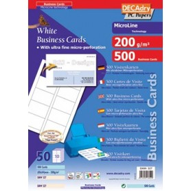 Decadry cartes de visite MicroLine ft 85 x 54 mm, 200 g/m , 500 cartes
