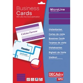 Decadry cartes de visite MicroLine ft 85 x 54 mm, 185 g/m , 500 cartes