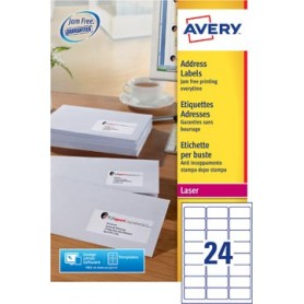 Avery L7159, Etiquettes adresses, Laser, Ultragrip, blanches, 250 pages, 24 per