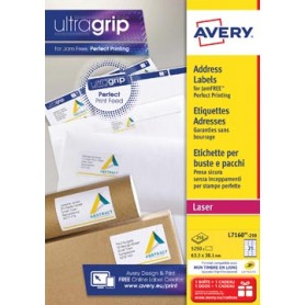 Avery L7160, Etiquettes adresses, Laser, Ultragrip, blanches, 250 pages, 21 per