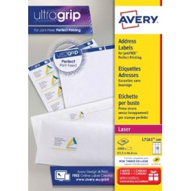 Avery L7161, Etiquettes adresses, Laser, Ultragrip, blanches, 100 pages, 18 per