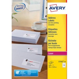 Avery L7162, Etiquettes adresses, Laser, Ultragrip, blanches, 40 pages, 16 per p