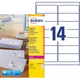 Avery L7163, Etiquettes adresses, Laser, Ultragrip, blanches, 40 pages, 14 per p