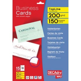 Decadry cartes de visite TopLine, 150 cartes, 10 cartes ft 85 x 54 mm par A4, co