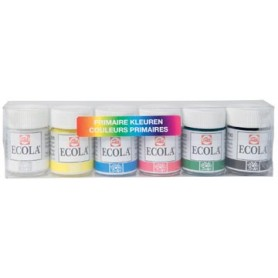 Talens Ecola gouache pot de 16 ml, étui de 6 pots en couleurs assorties