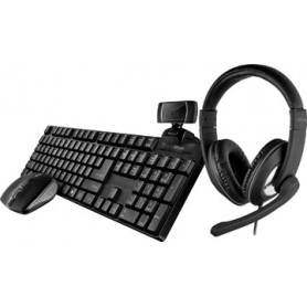 Trust Qoby 4-in-1 Home Office Set avec webcam, micro-casque, clavier (qwerty) et