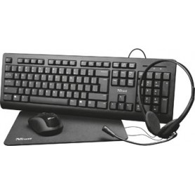 Trust Primo 4-in-1 Home Office Set avec micro-casque, clavier (qwerty), souris e