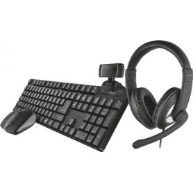 Trust Qoby 4-in-1 Home Office Set avec webcam, micro-casque, clavier (azerty) et